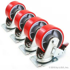 4 Red 5 Heavy Duty Wheel Caster Swivel Brake Iron Hub Casters No Mark Non Skid