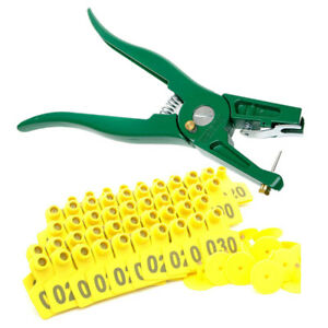 100 Set Pig Ear Tag Plier Sheep Goat Hog Cattle Cow Applicator Puncher Tagger