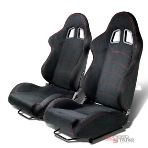 Reclinable Black Suede Lether Red Stitching Bucket Racing Seats Silder Rail Pair