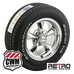 15 Inch 15x7 Polished Wheels Rims Tires 215 65r15 For Chevy Bel Air 150 210