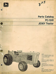 John Deere Vintage Original 301 Tractors Parts Catalog Manual Pc 1241