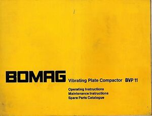 Bomag Bvp 11 Vibrating Plate Compactor Operator s Maintenance Parts Manual