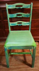 Vintage Hand Painted Green Wood Chair