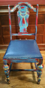 Vintage Hand Painted Blue Red Gold Wood Chair