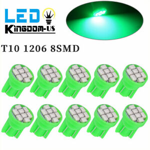 10x Vivid Green Wedge T10 8 Smd Led Car Instrument Panel Dash Cluster Light Bulb