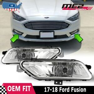 For 2017 2018 Ford Fusion Winjet Oe Factory Fit Fog Light Bumper Clear Lens