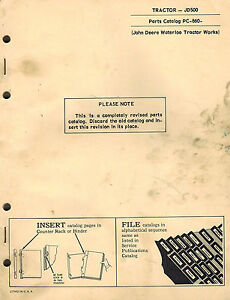John Deere 500 Industrial Vintage Tractor Parts Manual Pc 860 1969