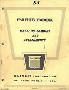 Oliver Vintage 35 Combine Attachments Parts Manual