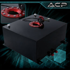 60 Liter 15 Gallon Black Aluminum Fuel Cell Tank With Gauge Sender Red Cap