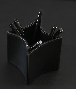 Orren Ellis Bridges Folded Leather Pencil Cup Black