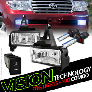 10k Hid Xenon W Clear Lens Bumper Driving Fog Lights Pt For 08 11 Land Cruiser