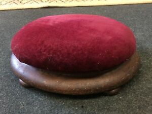 Antique 19th Century Art Nouveau Oak Framed Victorian Plum Coloured Foot Stool