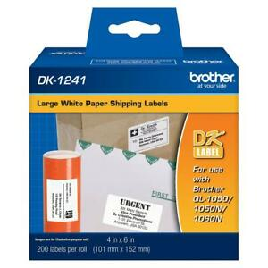Brother 4x6 Large Shipping White Paper Labels 200 Labels dk1241