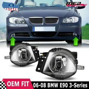 For Bmw 3 Series E90 06 08 Factory Bumper Replacement Fit Fog Lights Clear Lens