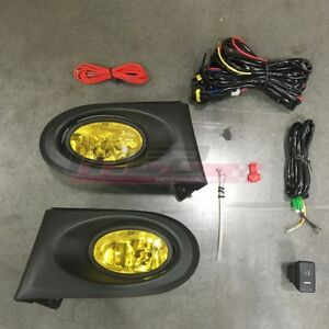 For Acura Rsx 02 04 Factory Replacement Fit Fog Lights Wiring Kit Yellow Lens