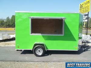 Tall 6x12 New Concession Vending Trailer Green 6 X 12 Enclosed Cargo Trailer