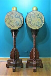 Museum Exhibited 18th C Chinese Gilt Red Lacquer Wood Drums 73 Tall C 1800