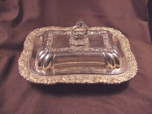Silver Plate Covered Server S B Co London 1934 Grape Pattern Excellent