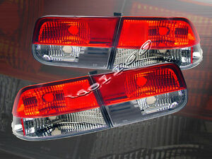 1996 2000 Honda Civic Tail Lights Red Clear 2d Coupe 99 98 97