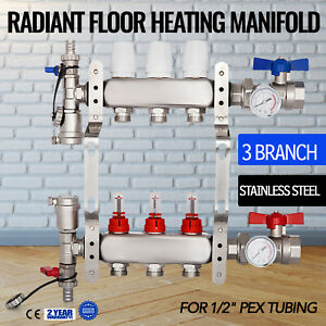3 Branch Pex Radiant Floor Heating Brass Manifold Kit 1 2 Pex Factory Leak proof