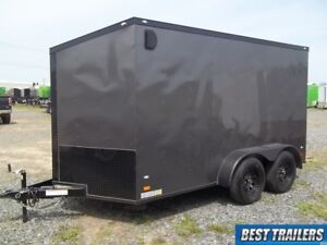 2018 7x12 Blackout Enclosed Trailer Grey Landscaper Specal Motorcycle Led 7 X 12
