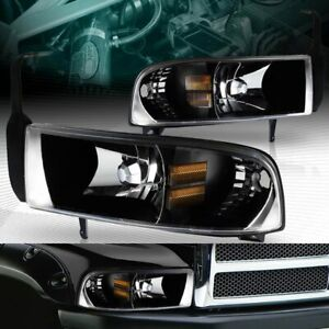 Black Housing 1 piece Style Headlights Lamps Fit 94 01 Dodge Ram 1500 2500 3500