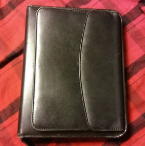 Vintage Franklin Covey Classic Planner organizer Black Leather 8 5 X 10 5