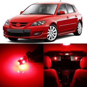 8 X Ultra Red Interior Led Lights Package For 2004 2009 Mazda 3 Tool