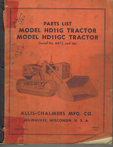 Allis Chalmers Hd 11g Hd 11gc Crawler Tractor Parts Catalog Manual