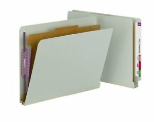 Smead 26800 Gray green End Tab Pressboard Classification Folders With Safeshield