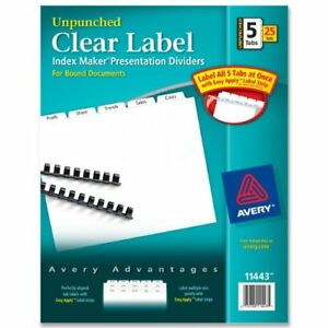 Avery Index Maker Clear Label Divider Blank 8 50 X 11 25 ave11443