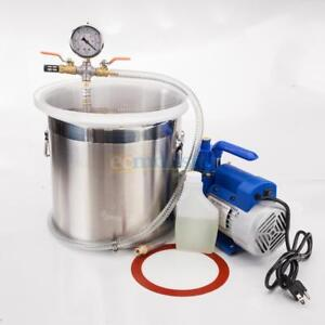 2 Gallons Vacuum Chamber Silicone Expoxy Degassing With 3cfm 1 4hp Vacuum Pump