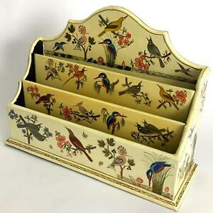 Vtg Bird Pattern Hand Painted Lacquer Wood Desk Organizer Sorter Suffering Moses