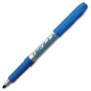 Bic Mark it Gripster Permanent Marker Fine Marker Point Type Blue Ink