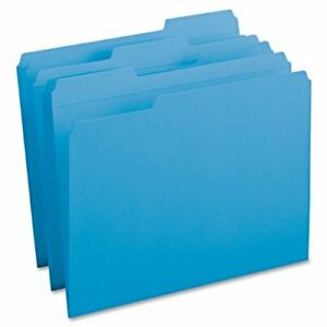 Smead 12034 Blue Colored File Folders With Reinforced Tab Letter smd12034