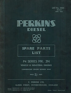 Perkins P4 Series Mk 3n Diesel Engine Spare Parts Manual 1954