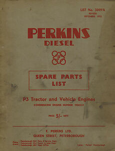 Perkins P3 Tractor And Vehicle Diesel Engine Spare Parts Manual 1953 3009 a
