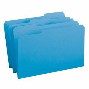 Smead 17034 Blue Colored File Folders With Reinforced Tab Legal smd17034