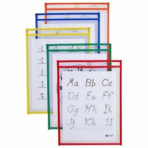 C line Products Reusable Dry Erase Pockets Assorted Primary Colors 9 X 12