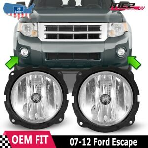 For 2007 2012 Ford Escape Pair Oe Factory Fit Fog Light Bumper Kit Clear Lens