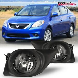 For 2012 2014 Nissan Versa Pair Oe Factory Fit Fog Light Bumper Kit Clear Lens