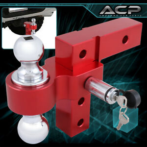 2 Red Trailer Receiver Truck Rv 6 Drop Adjustable Aluminum Hitch Tow Towing
