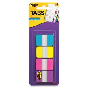 Post it 1 Solid Color Self stick Tabs Write on 88 Pack Aqua Yellow