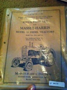 Massey Harris 33 Tractor Parts Manual Sn 1001 Up