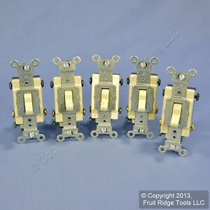 5 Leviton Ivory 4 way Commercial Toggle Wall Light Switches 15a Cs415 2i