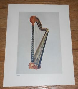 1921 Vintage Print Of A Pedal Harp