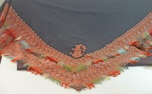 Gorgeous Antique Black Wool Shawl W Paisley Edging 19th Century Tt644