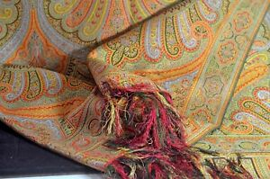 Rare 19th Century Silk European 2 Sided Paisley Piano Shawl Tt652