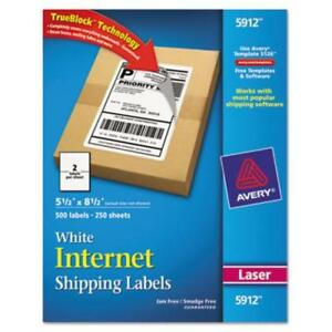 Avery Laser Printer Internet Shipping Labels 5 50 Width X 8 50 Length 5912