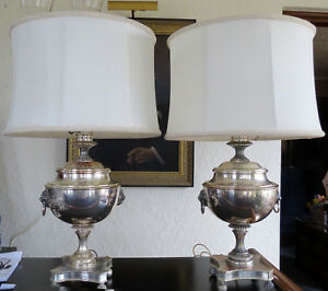 Pair English Regency Style Silver Plated Sheffield Lamps Hollywood Regency 1939